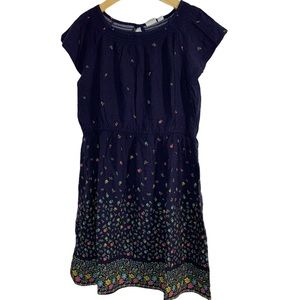 Gap navy blue floral print dress size small